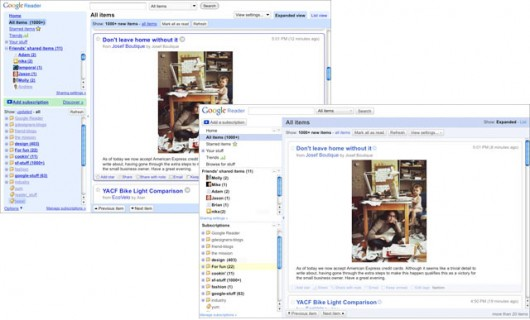 Novo visual do Google Reader
