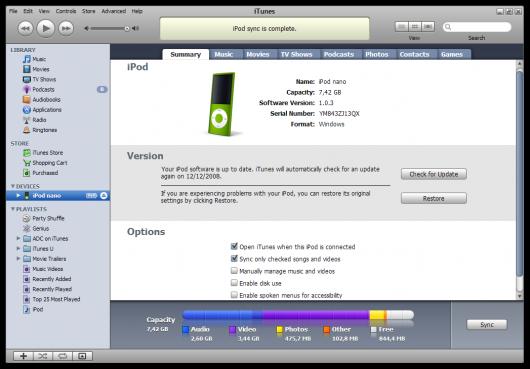 Sincronização do iPod nano 4G com o iTunes