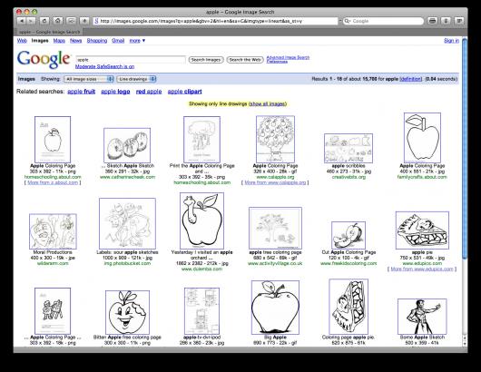 Apple no Google Images: filtro por contornos de linha