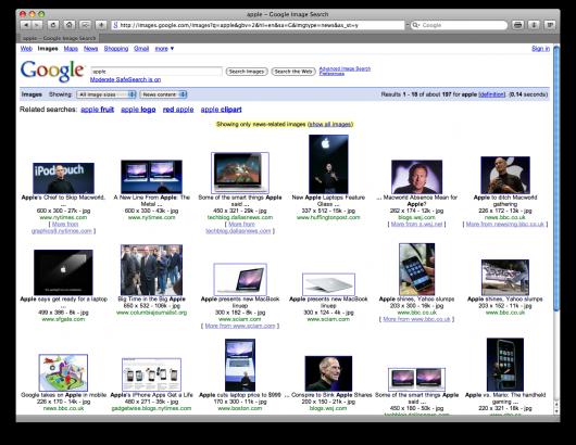 Apple no Google Images: filtro por notícias