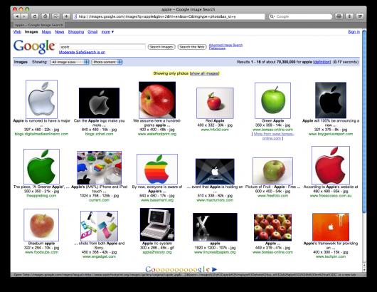 Apple no Google Images: filtro por fotografias