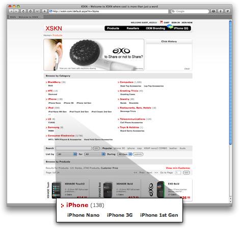 iPhone nano no site da XSKN