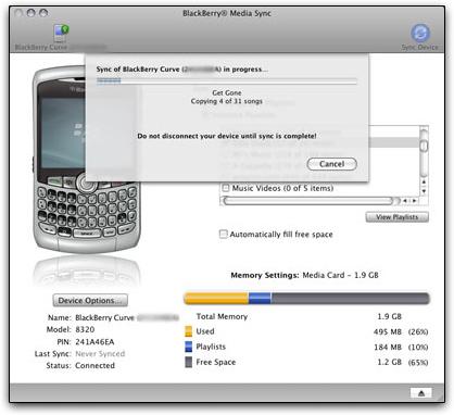 BlackBerry Media Sync para Mac OS X