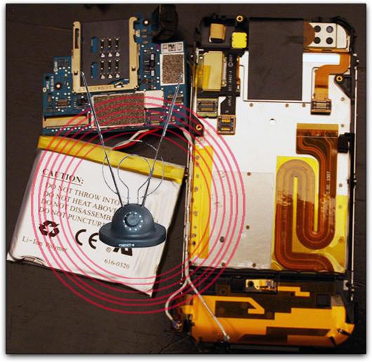 Antena em componentes do telefone