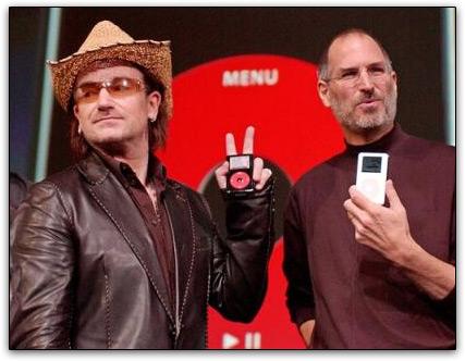 Bono Vox U2 e Steve Jobs com iPods