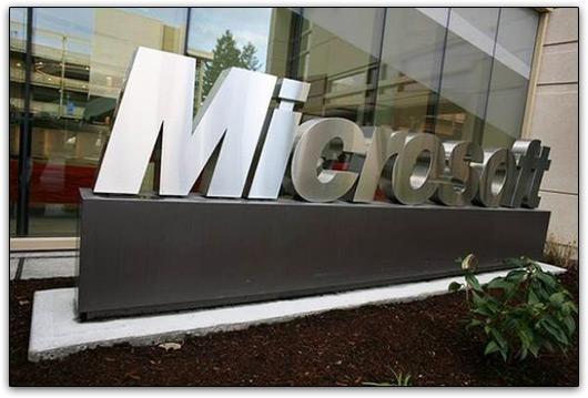 Logo na entrada da Microsoft