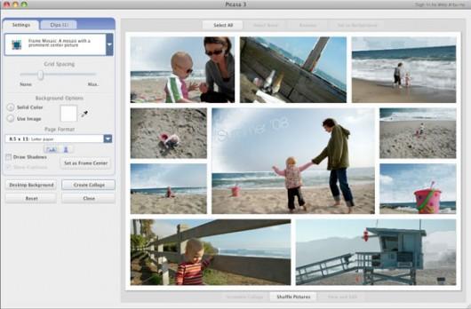Colagens no Picasa para Mac
