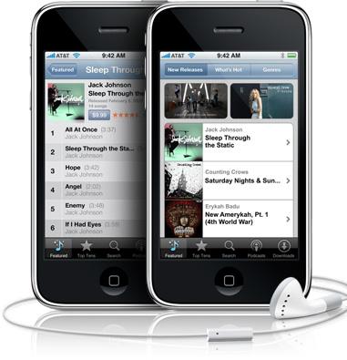 iTunes Music Store no iPhone