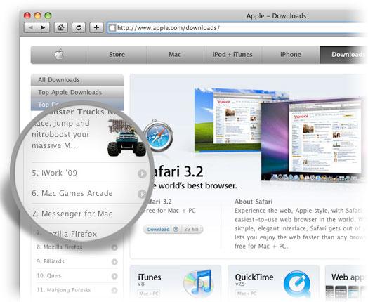 iWork '09 no site da Apple