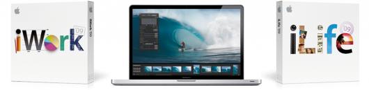 """MacBook Pro de 17"""", junto do iWork '09 e do iLife '09"""