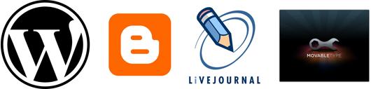 WordPress, Blogger, LiveJournal e MovableType