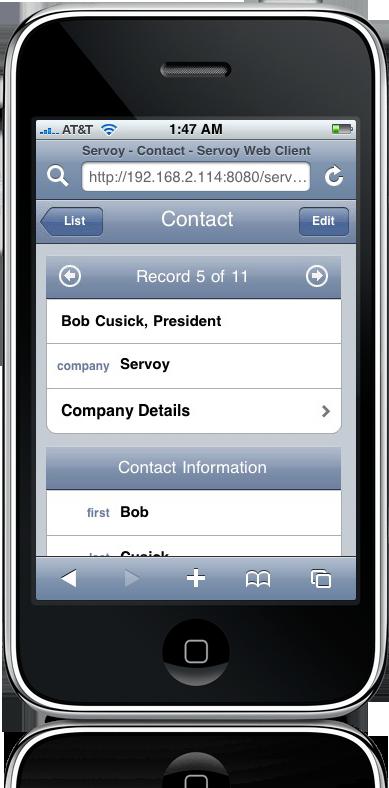 Formulário feito no Servoy iap no iPhone