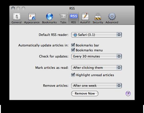 Preferências de RSS no Safari