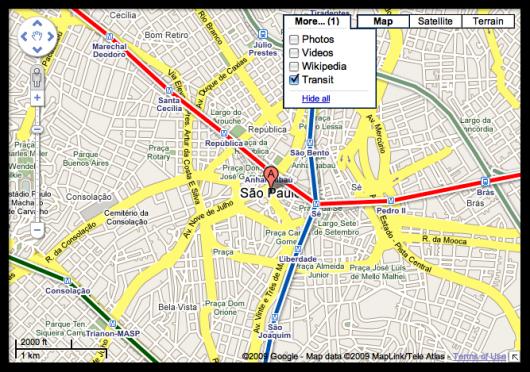 "Nova camada ""Transit"" do Google Maps"
