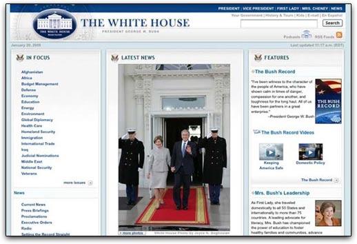 WhiteHouse.gov, versão da época do Bush