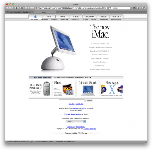 Apple.com antigo com um iMac G4