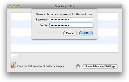 Senha de root no Directory Utility