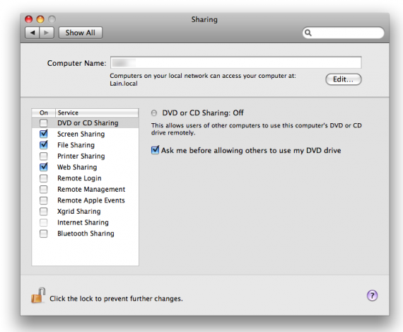 Compartilhamento de CD ou DVD no System Preferences