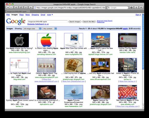Filtro por tamanho de imagens no Google