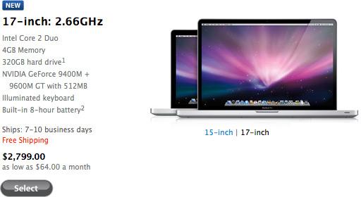 MacBook Pro 17 disponível