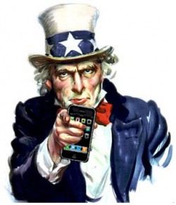 Uncle Sam com iPhone