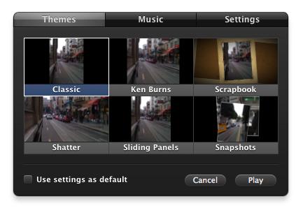 Slideshow Themes do iPhoto '09