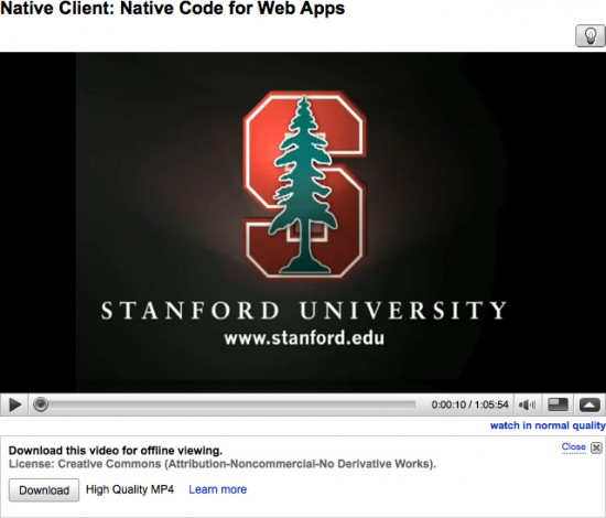 Vídeo da Stanford no YouTube para ser baixado