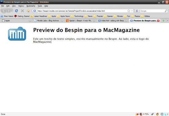 Exemplo do Bespin para o MacMagazine no Firefox