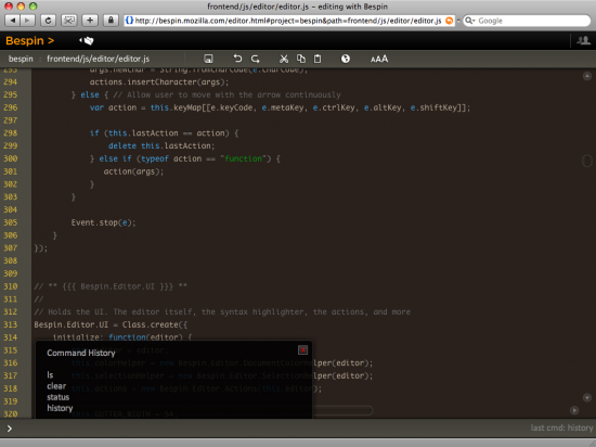 Bespin no WebKit