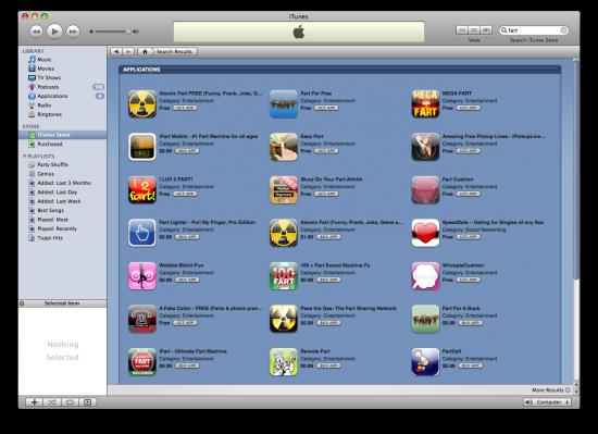 """Dezenas e mais dezenas de resultados de uma busca por """"fart"""" na App Store"""