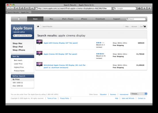 Apple Cinema Displays na Store Online