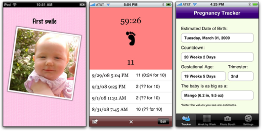 Baby Scrapbook, Kicker Counter e Pregnancy Tracker