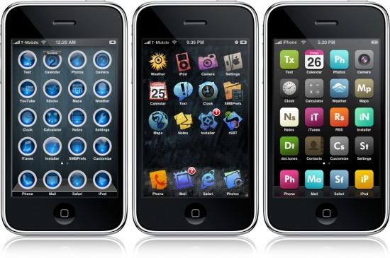 Alguns exemplos de tema para iPhone