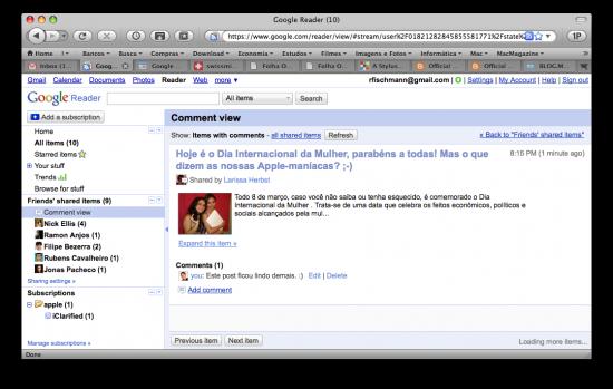 Comentários no Google Reader