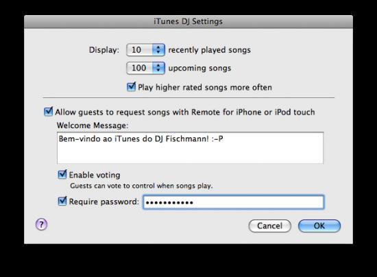 Remote no iTunes DJ