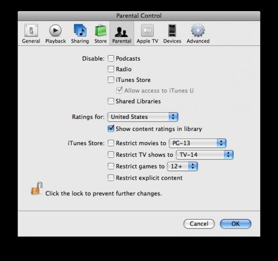 Parental Controls no iTunes 8.1