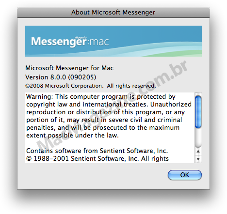 About do Microsoft Messenger 8