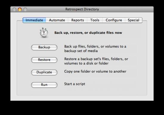 Interface do EMC Retrospect não é lá das mais amigáveis