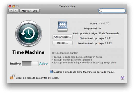 Console de gerenciamento do Time Machine