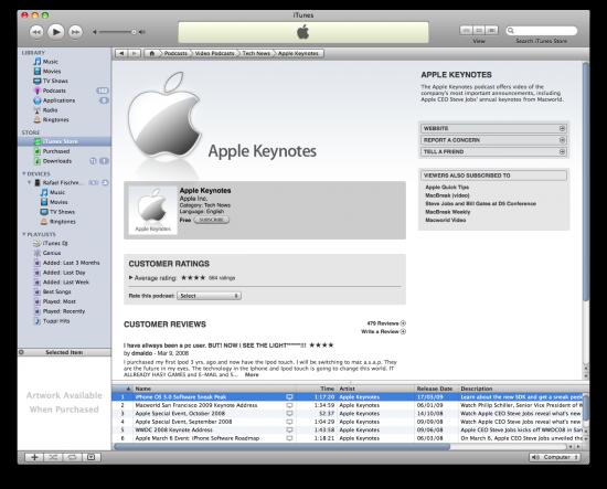 Apple Keynotes no iTunes