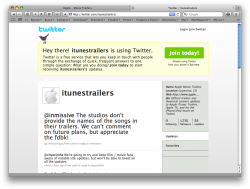 Trailers da Apple no Twitter
