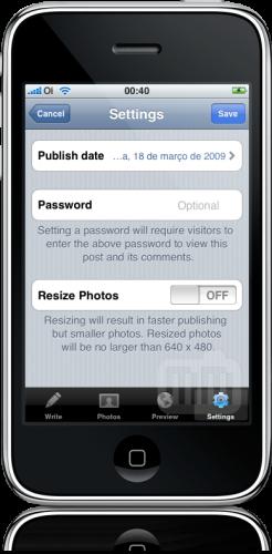 WordPress 1.2 para iPhone