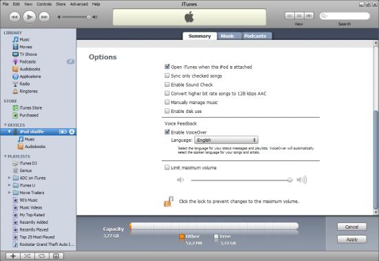 iPod shuffle 3G no iTunes