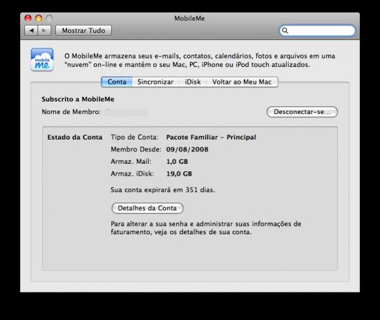 Interface do MobileMe