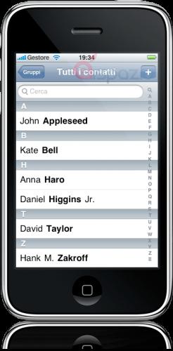 Contatos no iPhone OS 3.0