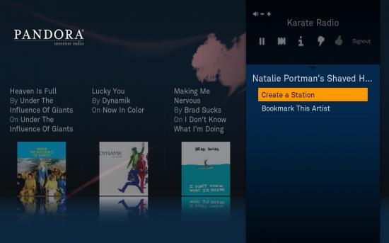 Pandora no Boxee