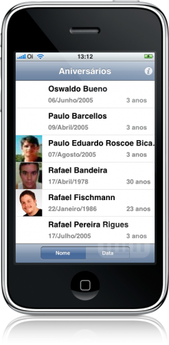 Aniversariantes no iPhone