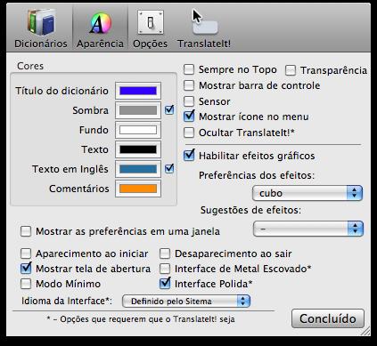 Aparência do TranslateIt!