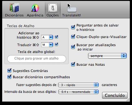 Opções do TranslateIt!