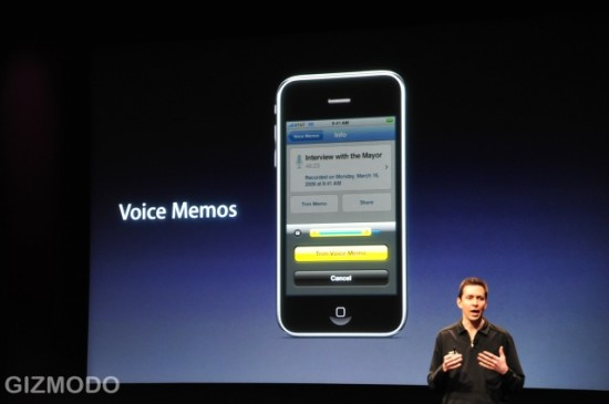 Voice Memo, novo app do iPhone OS 3.0